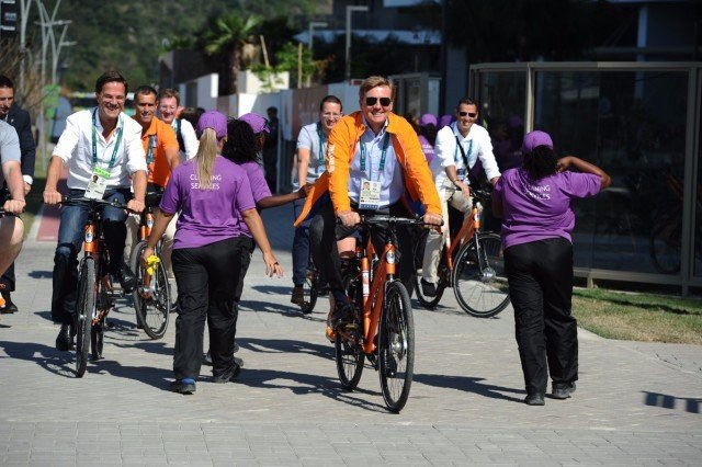 The King of the Netherlands and the Dutch Prime Minster; biking amongst the crowds in Rio