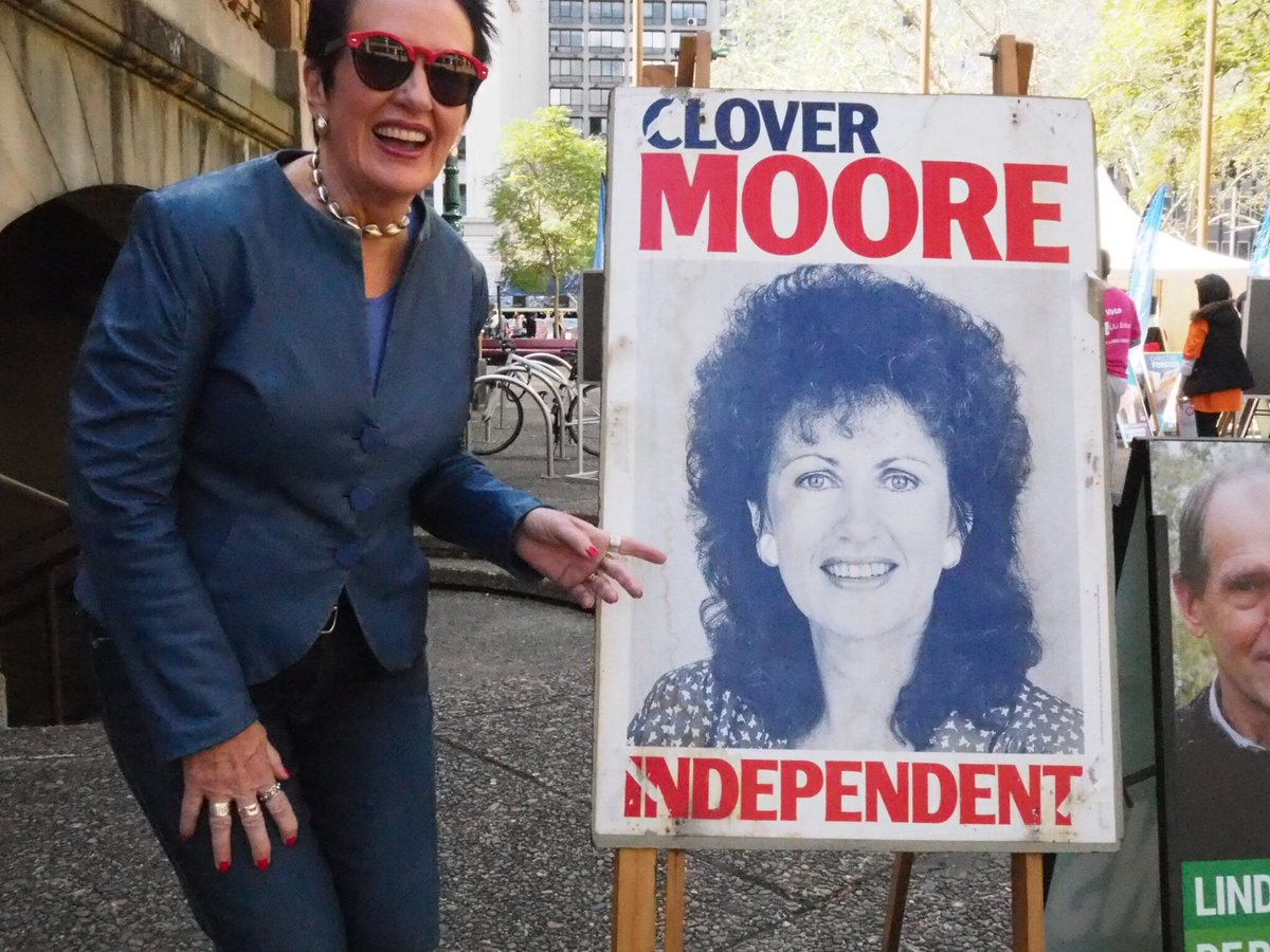 Urban Legend Clover Moore, with one of her original election posters from the Eighties
