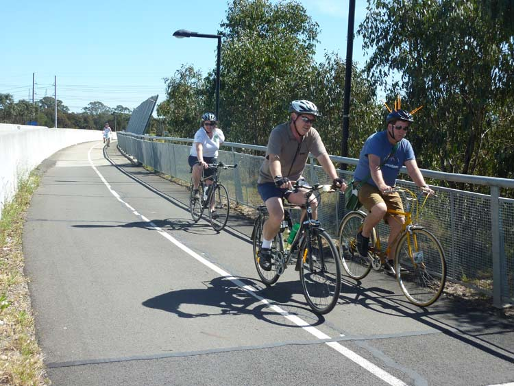 Separated cycle track, with it's own bridges; wonderful community infrastructue.