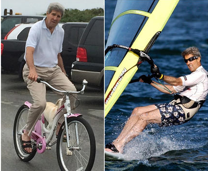 He rides a pink bike and does not GAF. He windsurfs !