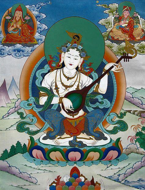 The goddess Saraswati whose Vajrayana initiation Lama Jampa bestowed on students at Wetlands Centre, London on 9th March 2019