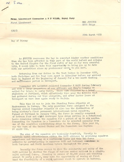 The attached copies are of items donated by Eddie Hill whose father was on the Battleship Jupiter, as an 'old Jupiter' the Ship's Sec. sent Newsletters to keep them up to date with the 'current' Jupiter F60.A letter of thanks was sent by the Secretary on behalf of the Association for this historic donation.