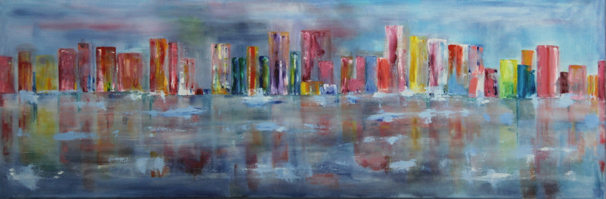 Stadt am Wasser  2019, 120 x 40  Acryl / Öl auf Leinwand