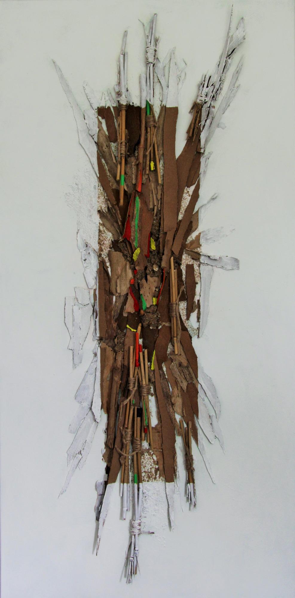Rinde, Bambus, Sisal…  2019, 50 x 100  Acryl / Naturmaterialien auf Leinwand