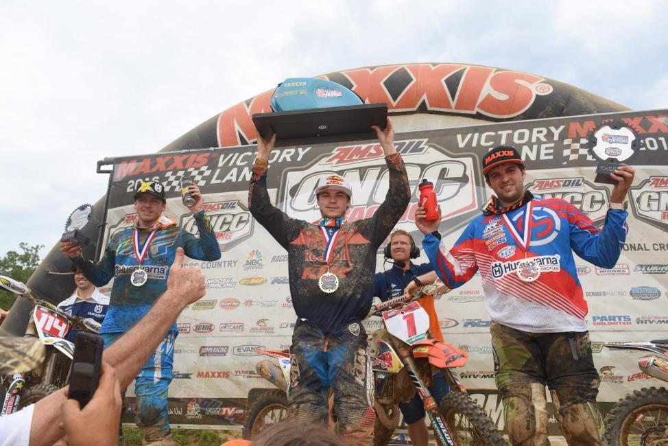 Overall Podium: (2) Josh Strang, (1) Kailub Russell, (3) Thad Duvall. Photo: Ken Hill.