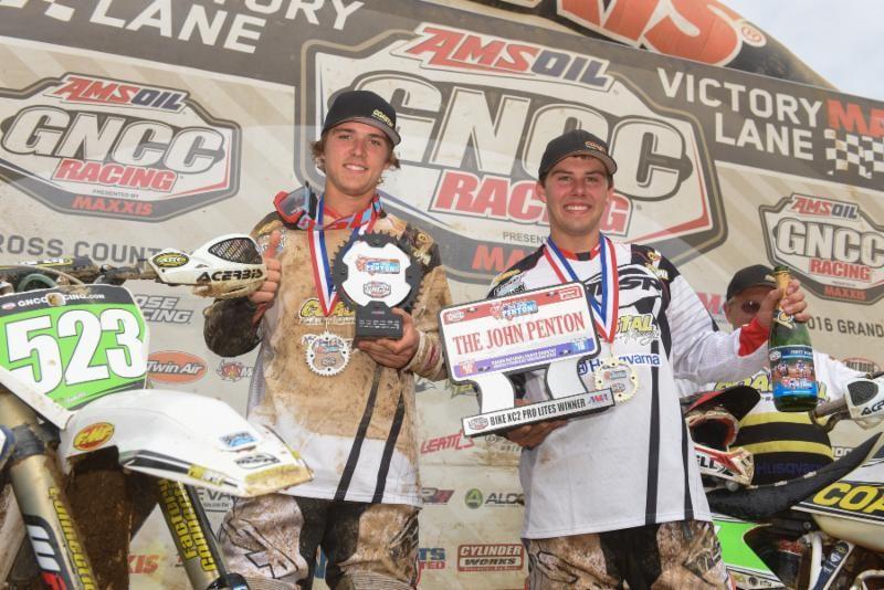 Layne Michael (left) and Craig DeLong (right) share a podium celebration. Photo: Ken Hill.