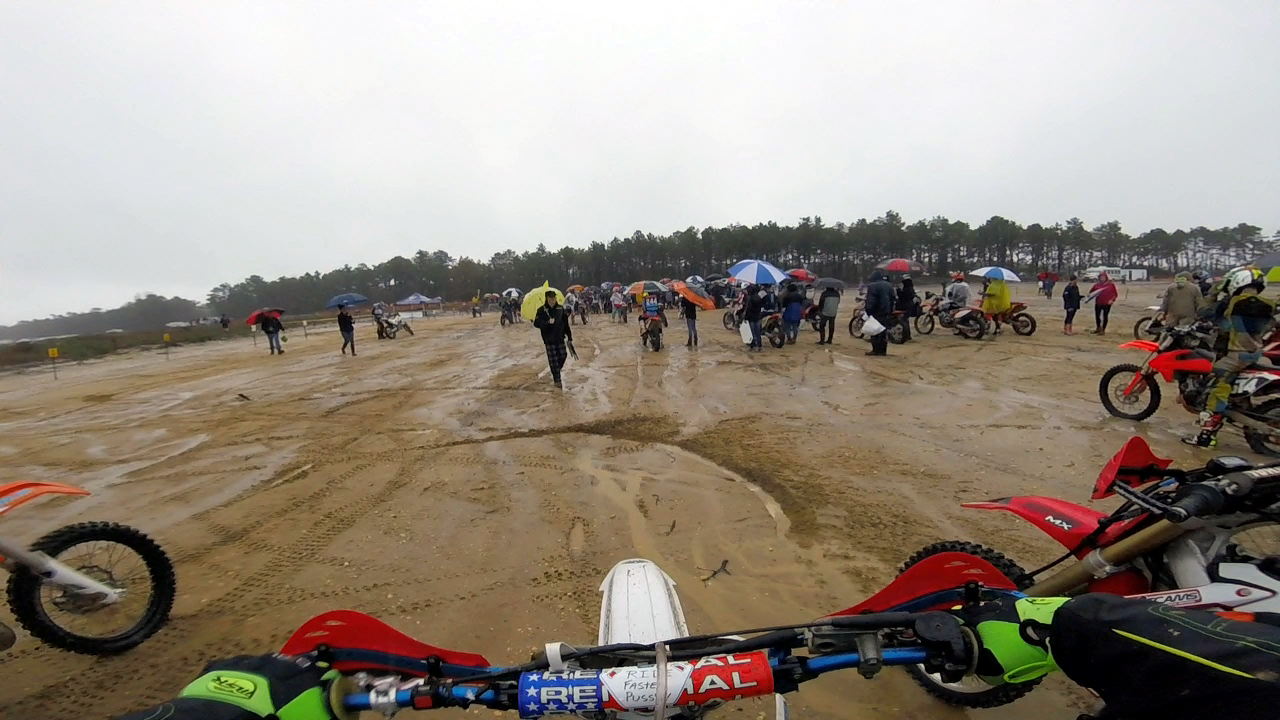 The view from the rainy the starting line. Photo credit: Frank Visone (GoPro still image).