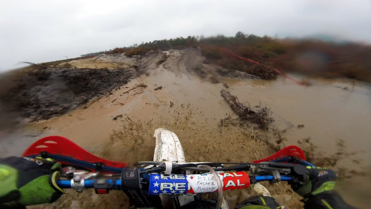 The first of several water crossing. Photo: Frank Visone (GoPro still image).