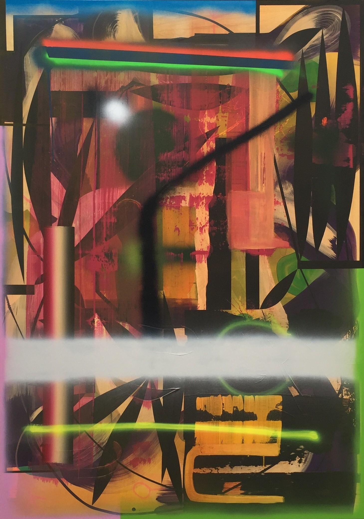 I arbeidets utkanter Akryl tusj og spray på lin 190 x 134 cm