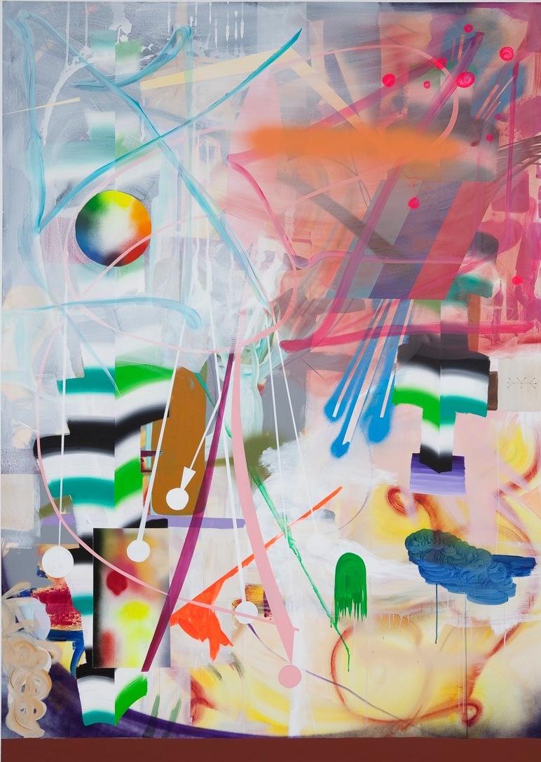 Epilog Acrylic and spray on canvas 268 x 19 cm