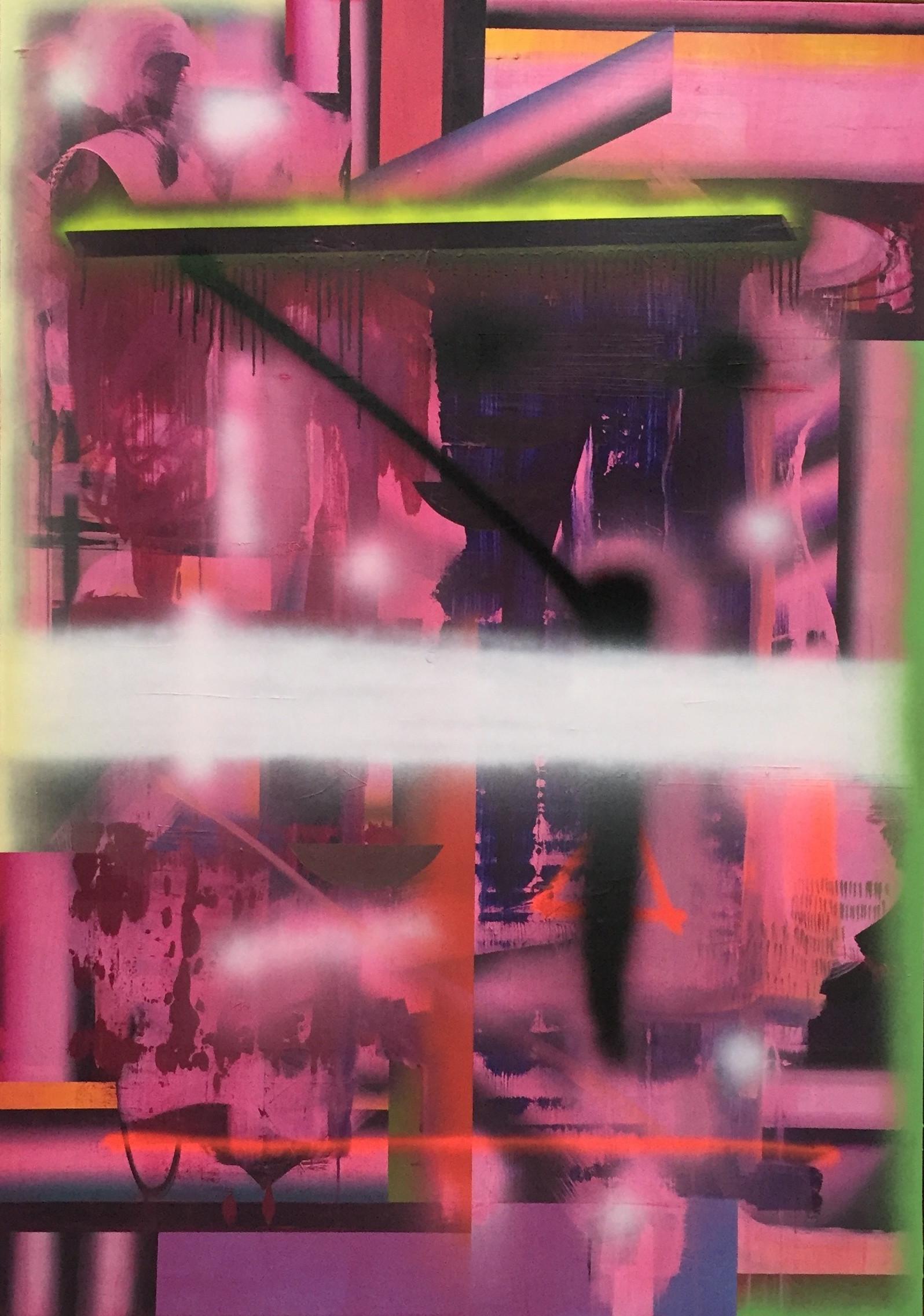 Om vekten av en lettelse Acrylic and spray on linen 190 x 134 cm
