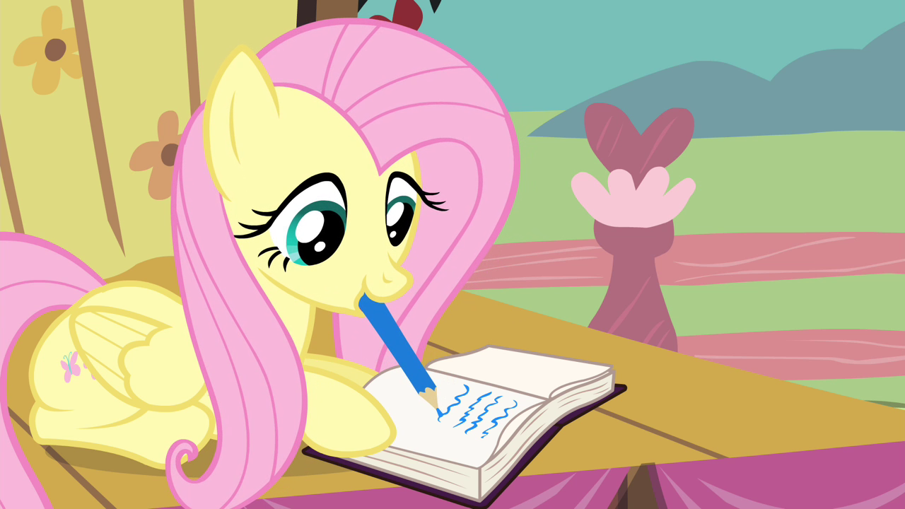 Fluttershy_writing_on_the_journal_S4E14.png