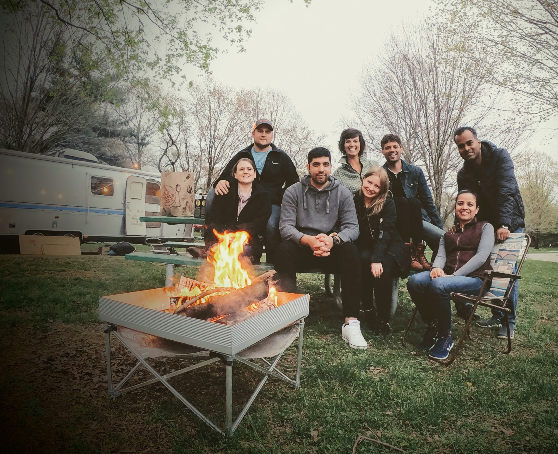 // April, 2019. Campfire with our new vag friends. //