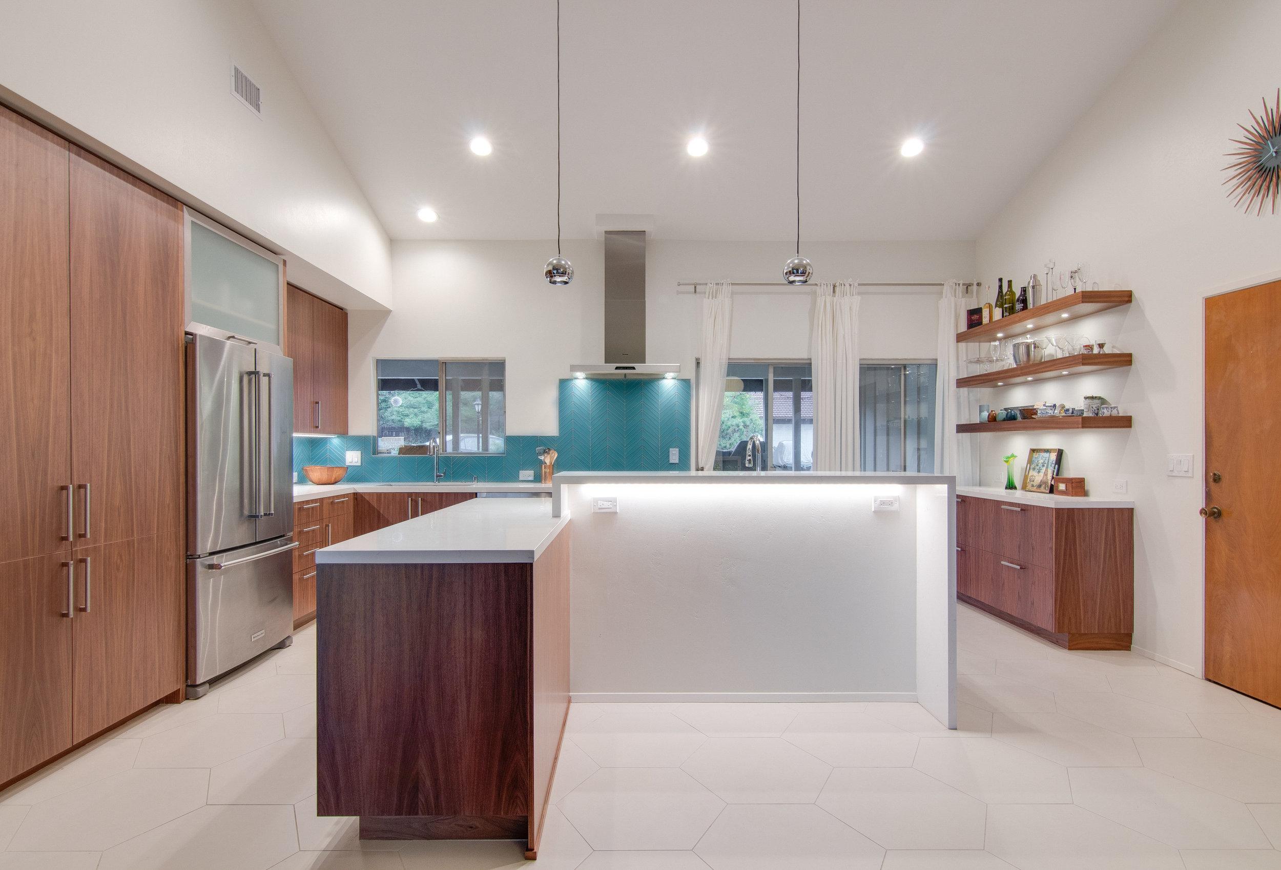 Midcentury Modern Walnut Kitchen Taylorpro Design And Remodeling