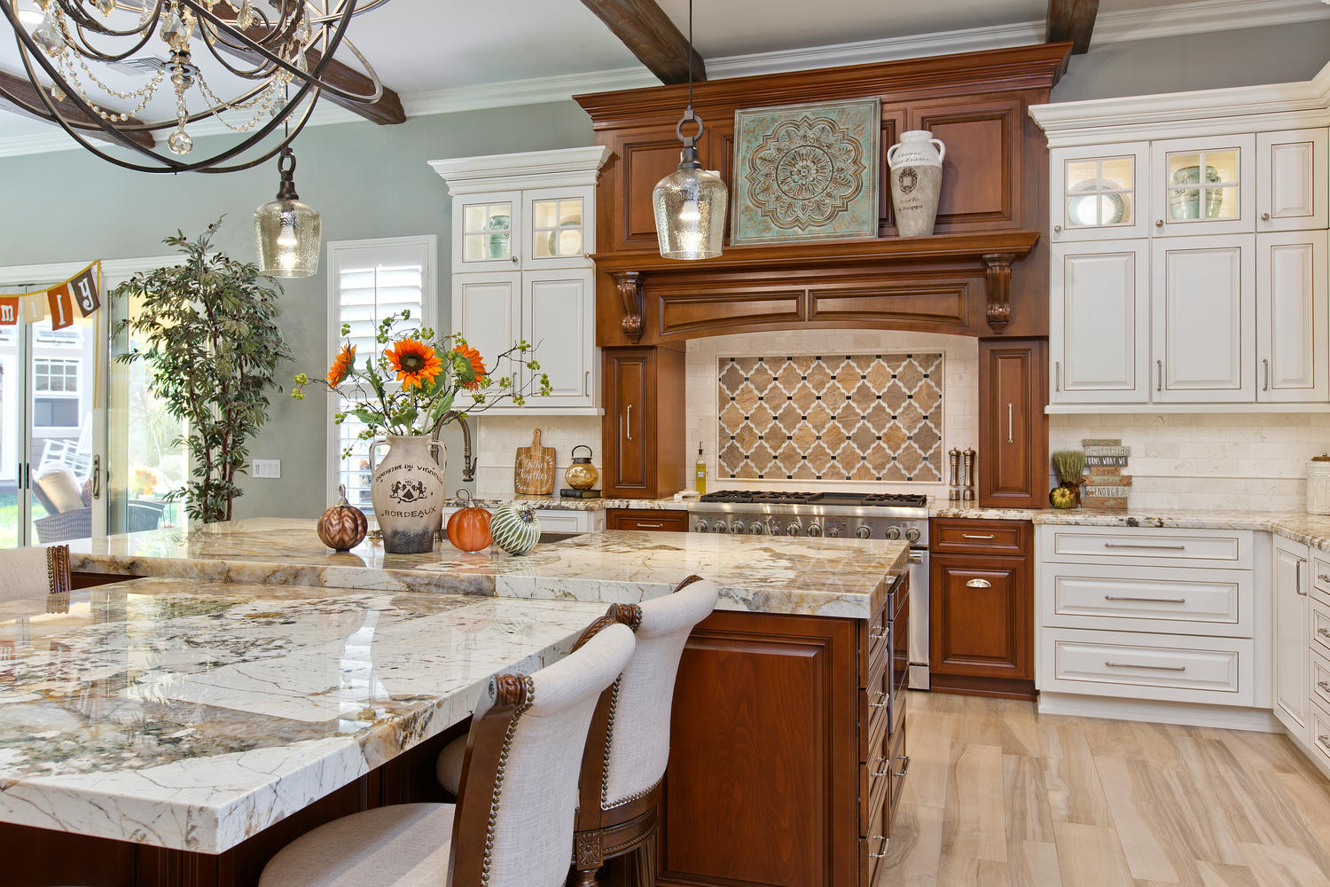 Expansive, Tuscan Inspired Kitchen & Family Room