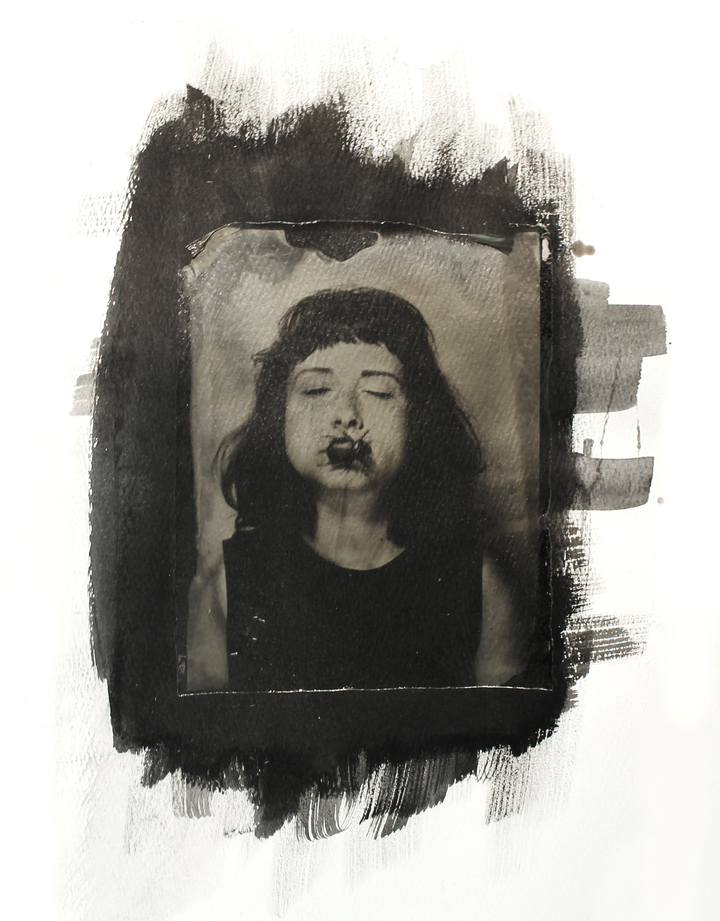 Silence  transferred collodion onto paper with ink, 2017