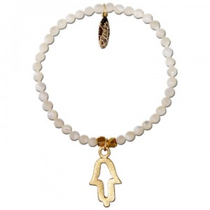 Shut Up I Love This Ettika White Beaded Gold Hamsa Bracelet