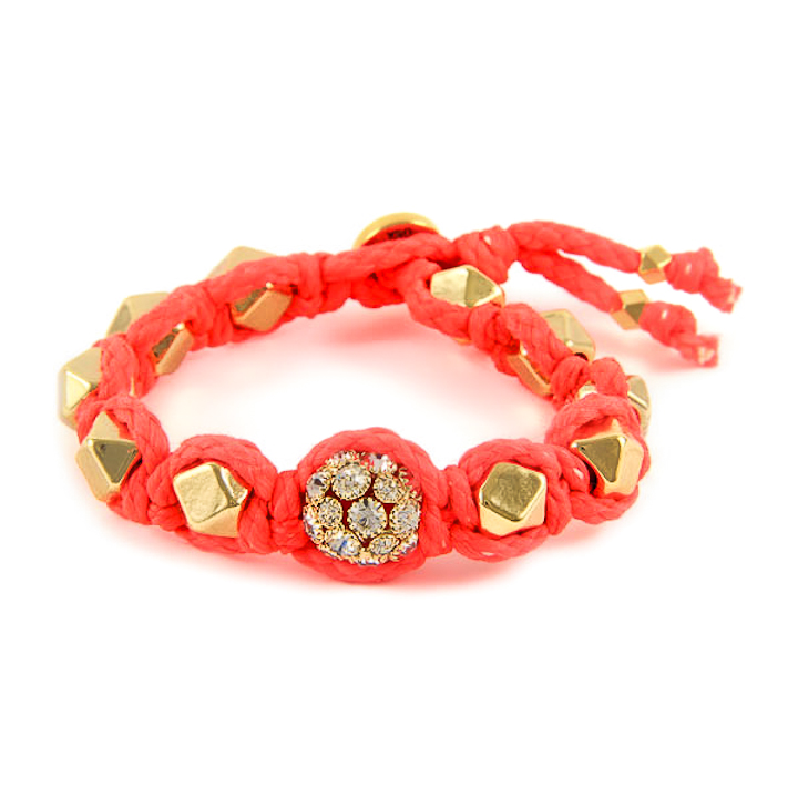 Shut Up I Love This Ettika Neon Coral Gold Faceted Bead Bracelet