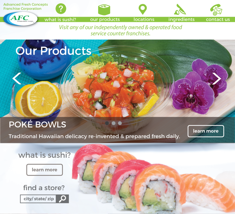 AFC Website Redesign - A website re-design for my past company, Advanced Fresh concepts Franchise Corporation.
