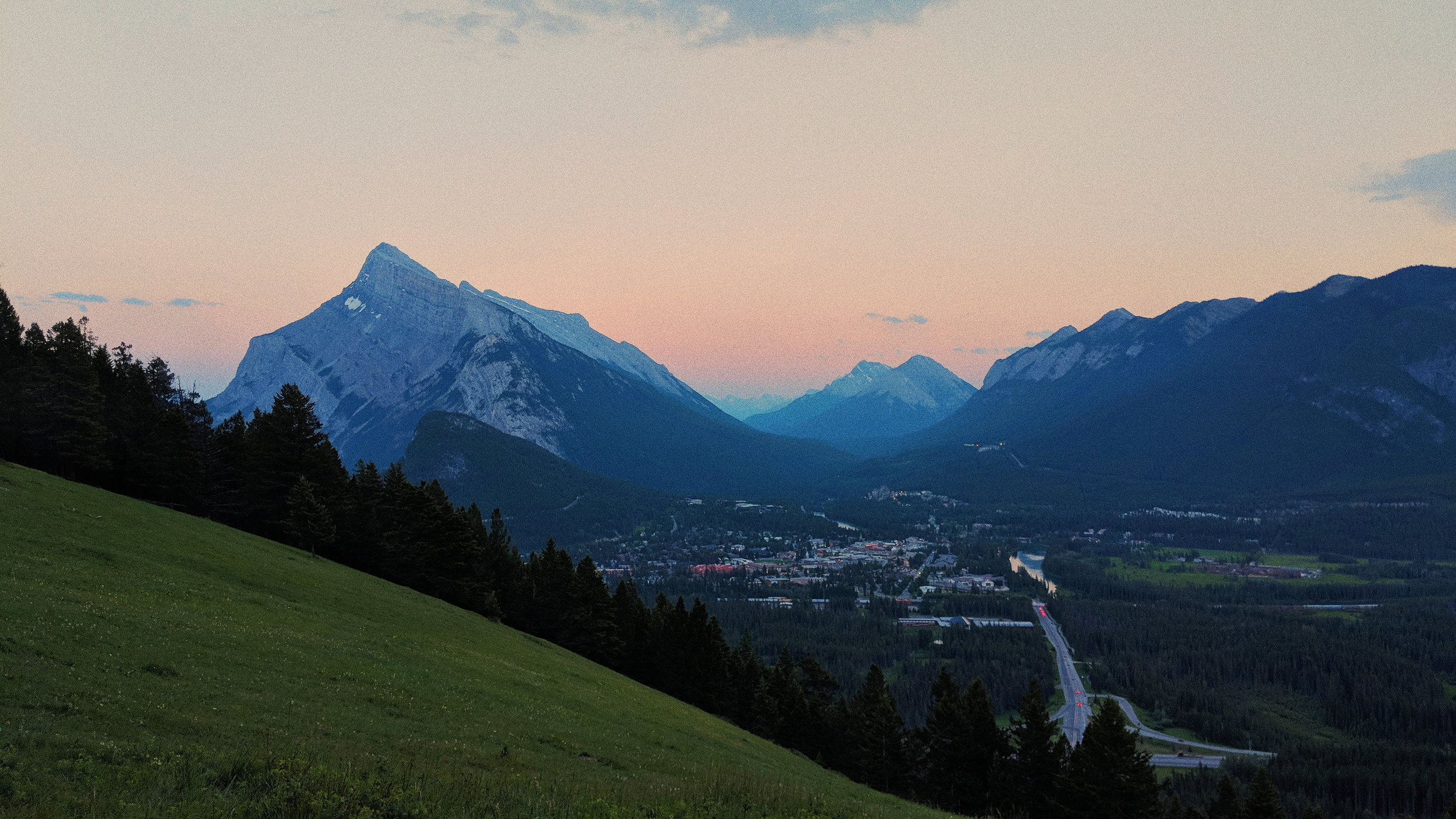 Sunset over the town of Banff