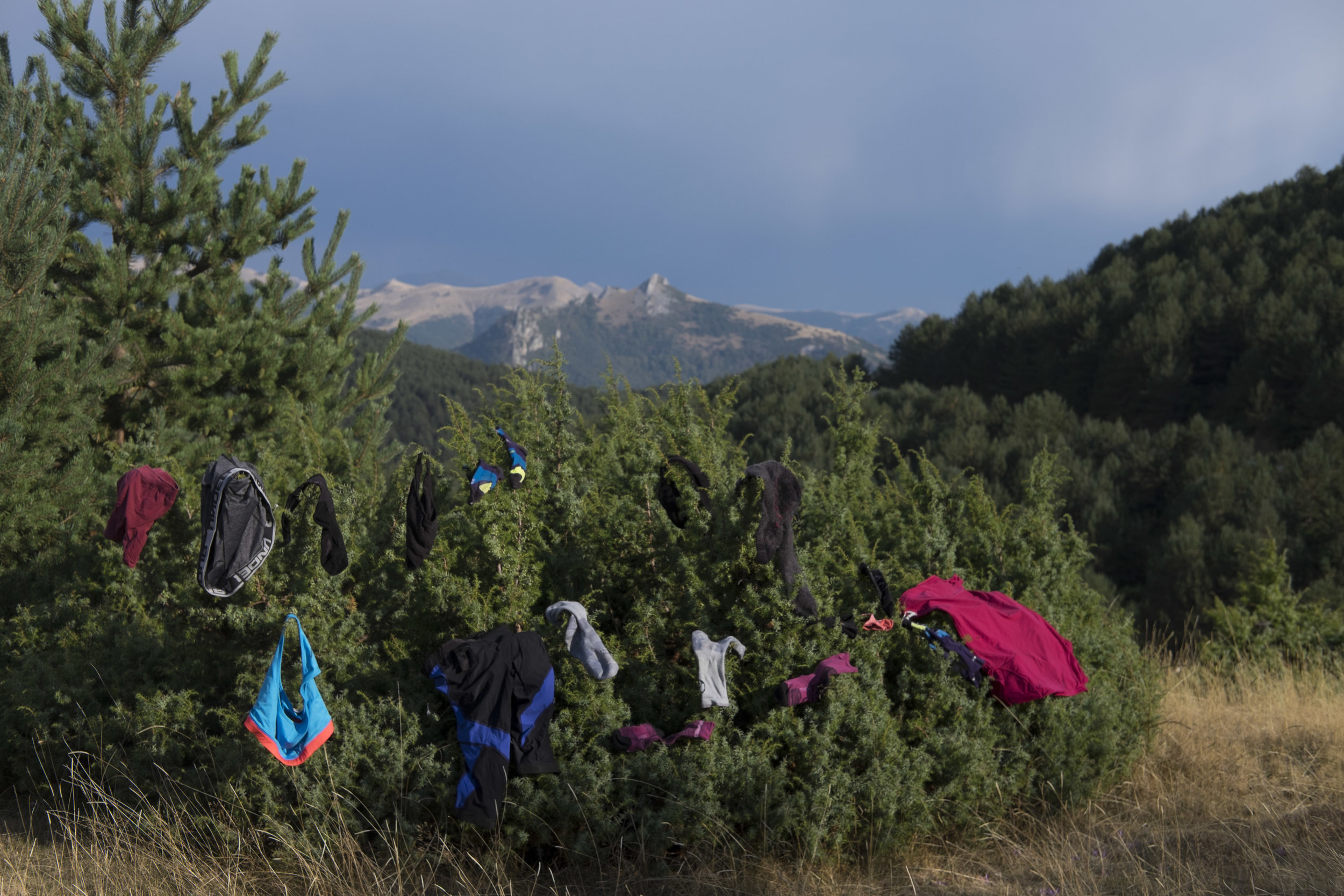 Drying our clothes on the trail.