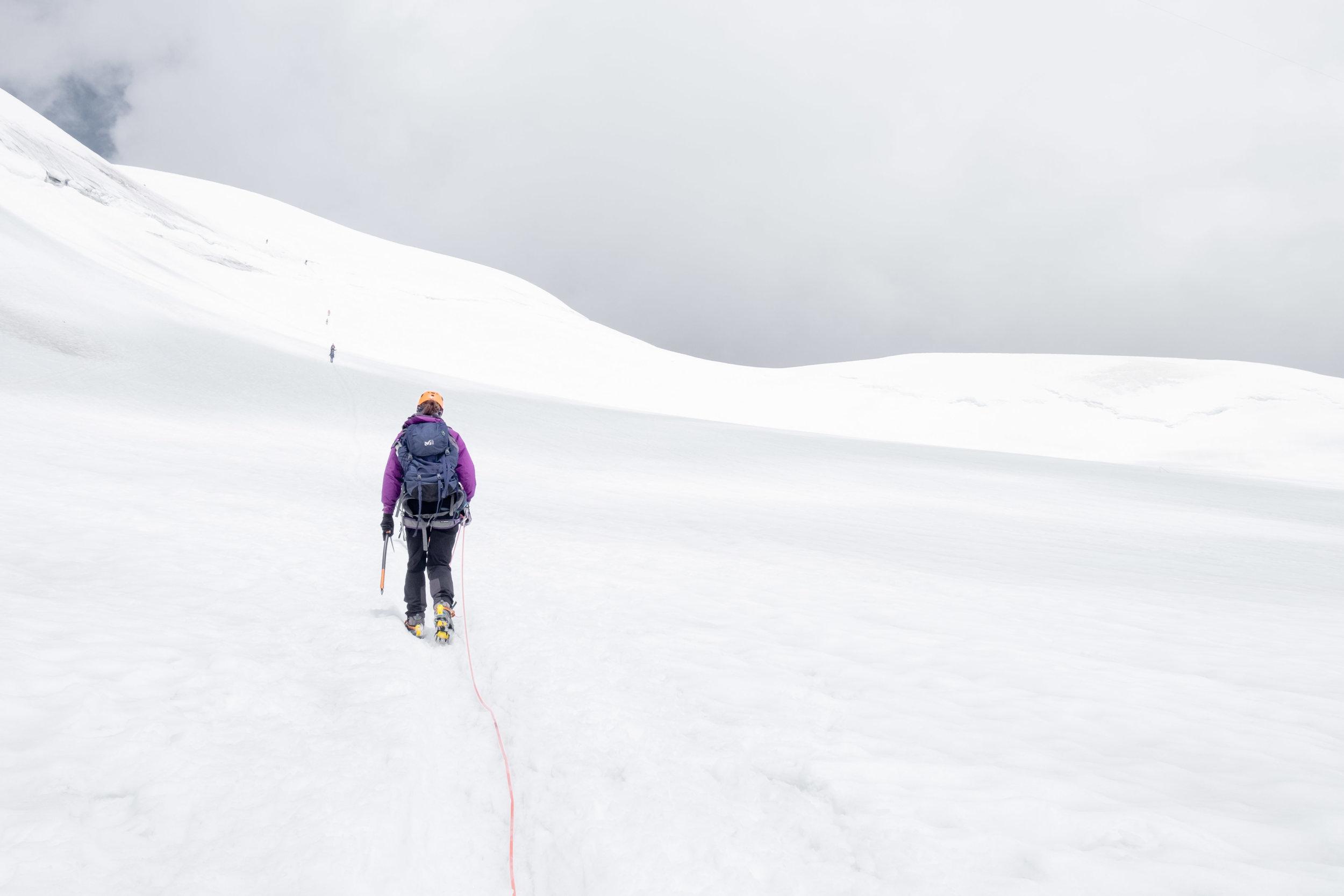 Crossing the glacier towards Aiguille Du Midi.