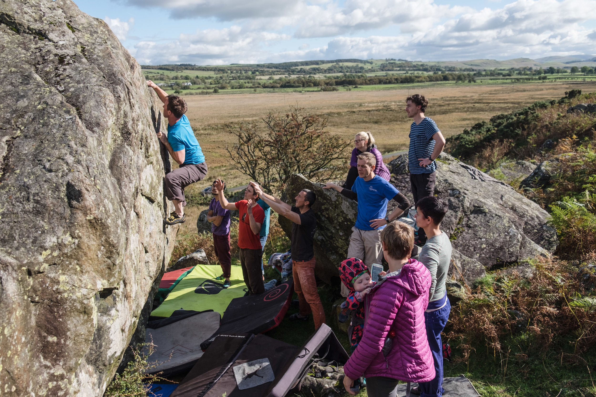 Group bouldering in the Lakes.