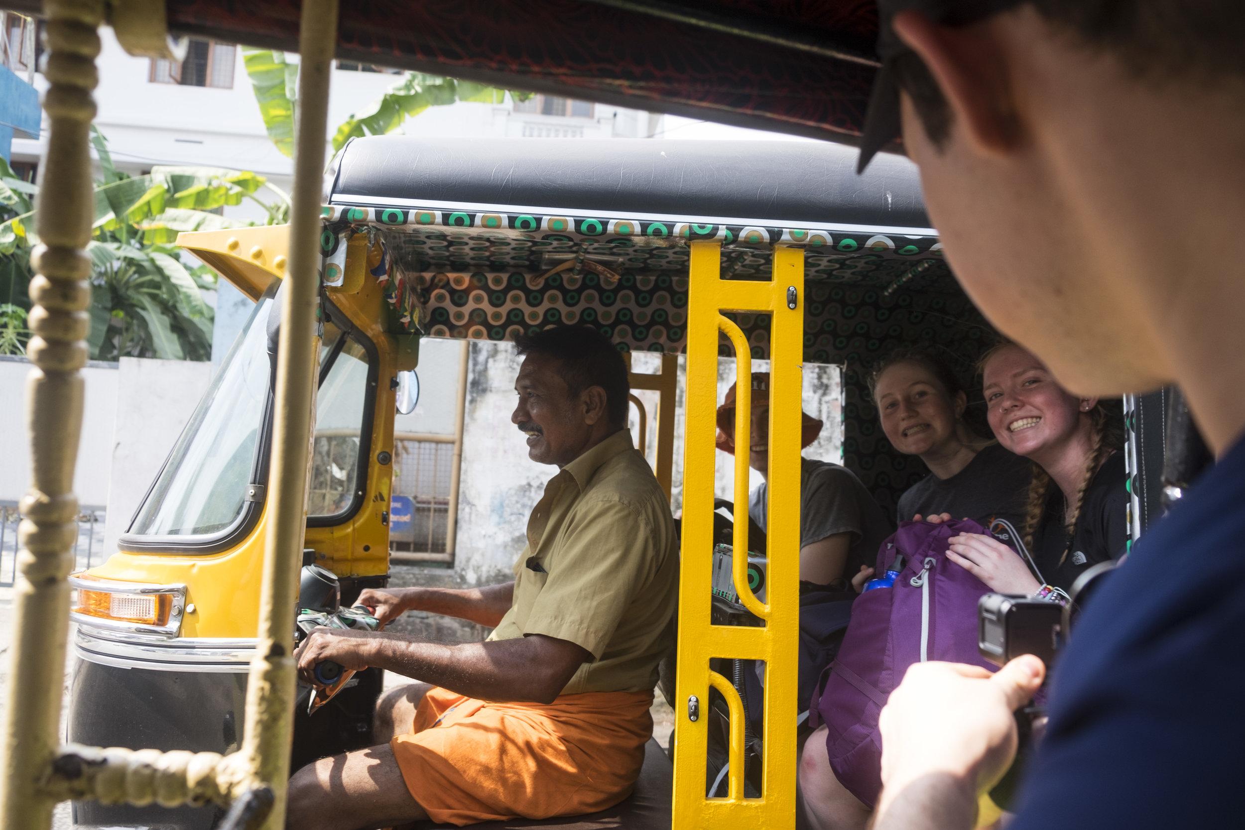 Organising transport for the team in India, Kerala