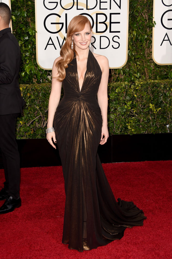 Jessica Chastain Versace Golden Globes