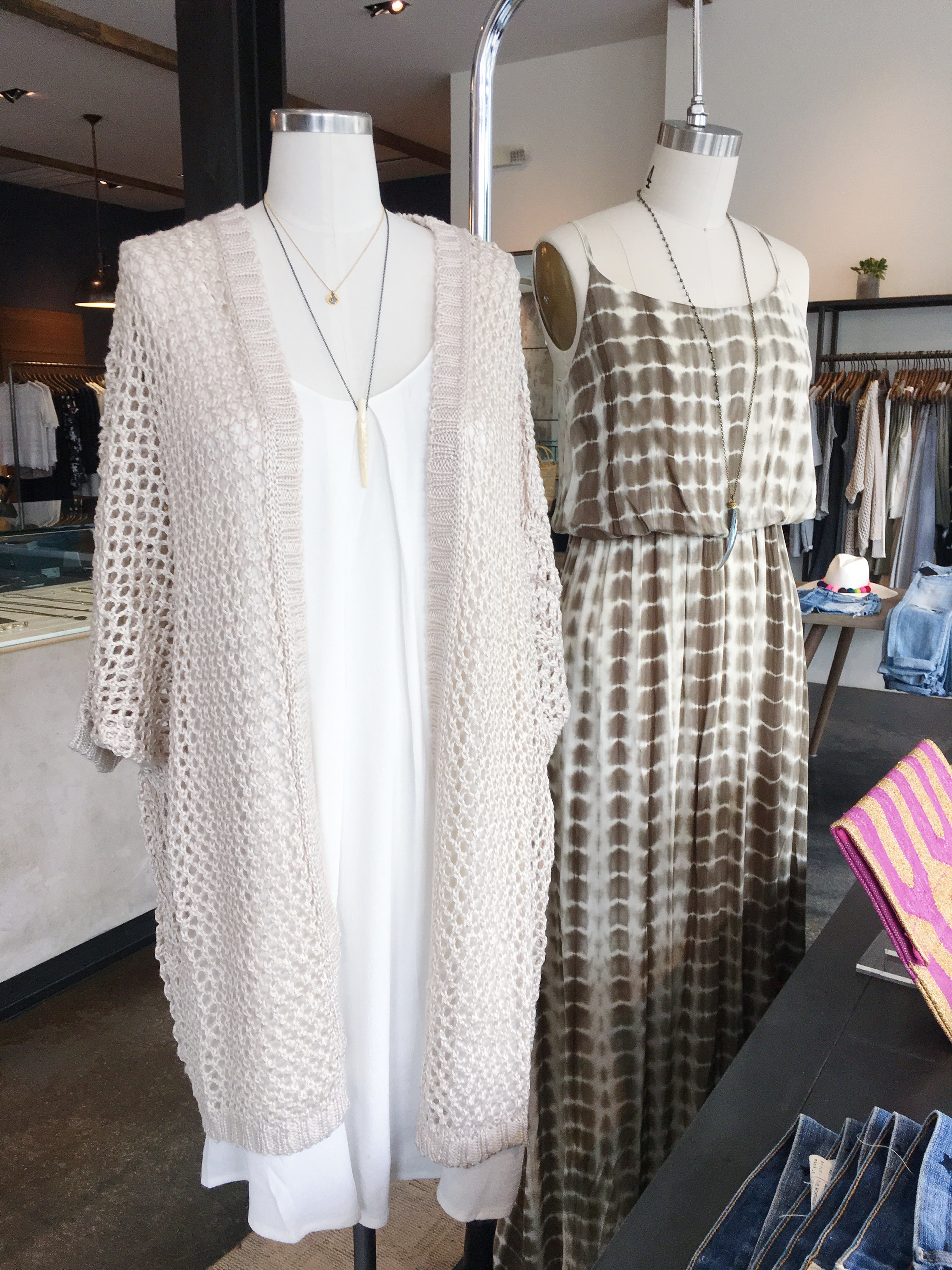 Slip Dress and Open Weave Cardigan
