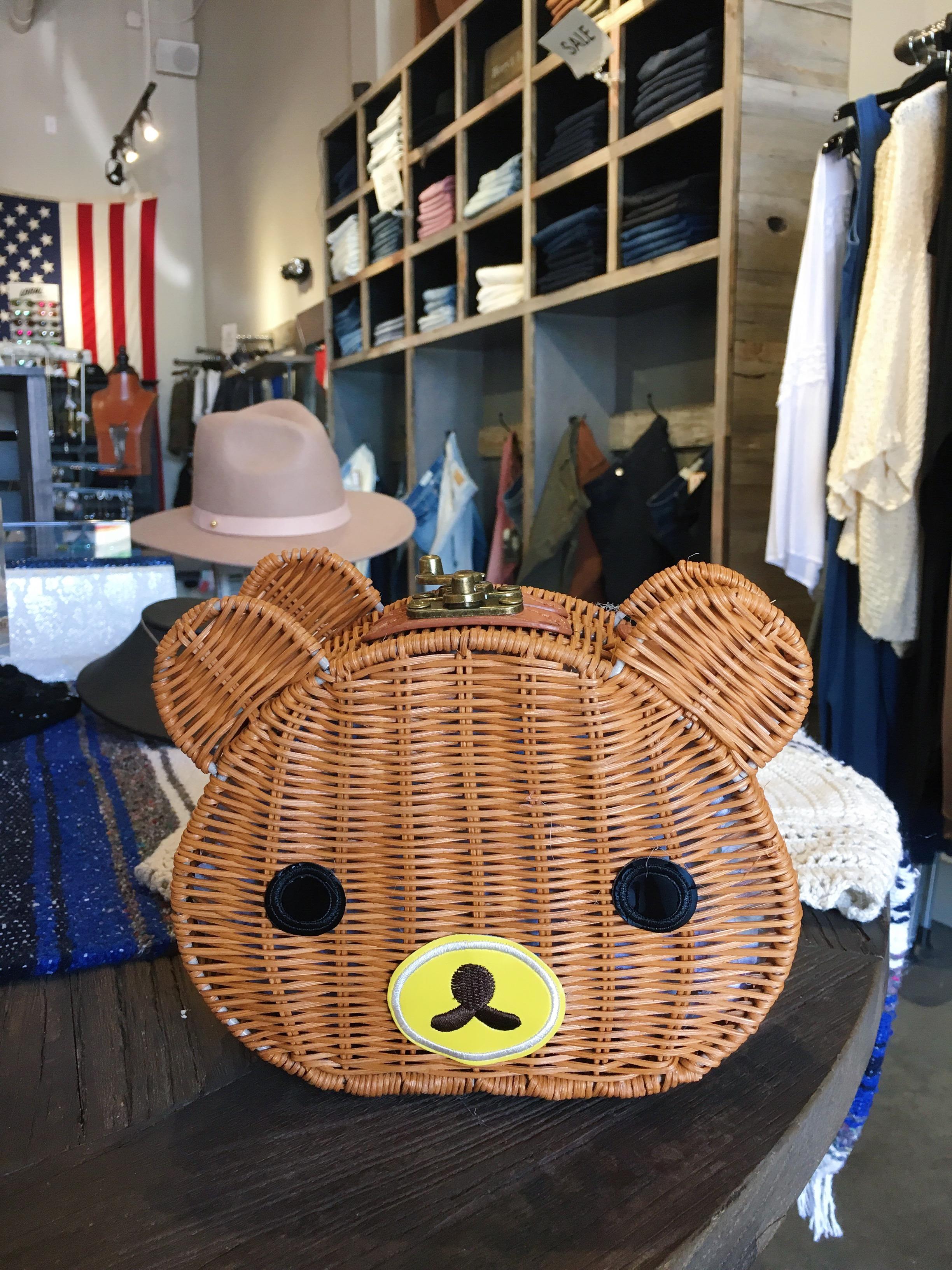 Woven Rattan Bear Bag