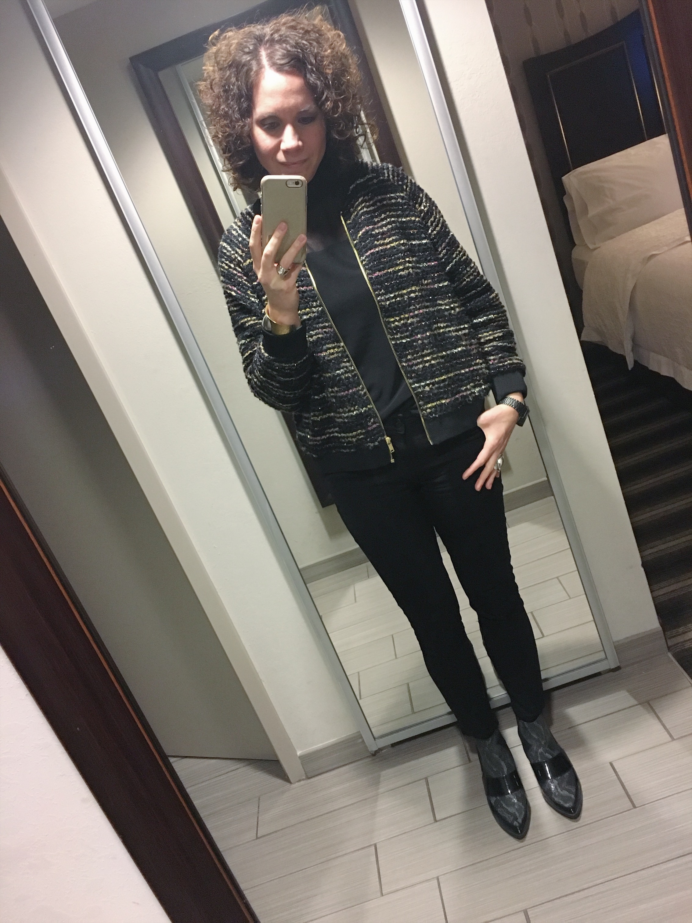 Bomber is  H&M  / Turtleneck is from  Knuth's  in Cleveland, Ohio / Jeans are  DL 1971  from  SOCA Clothing  / Chelsea boots are  ASOS  / Cuff and ring are  Margaret Ellis Jewelry