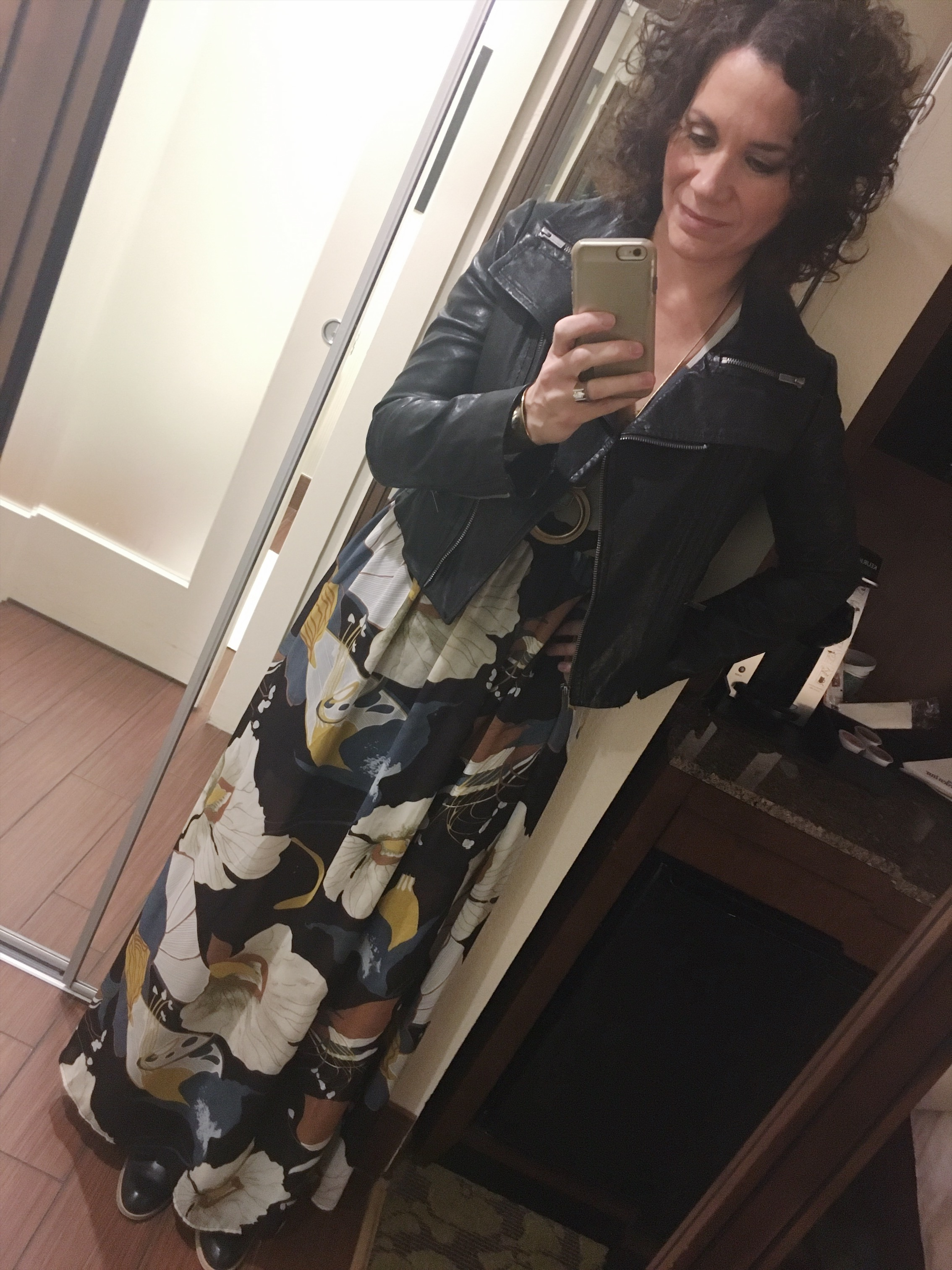 I like to break up the print and toughen this dress up a bit by adding my  BCBG  leather jacket I found at  Flip  on 8th Ave. ( similar here )