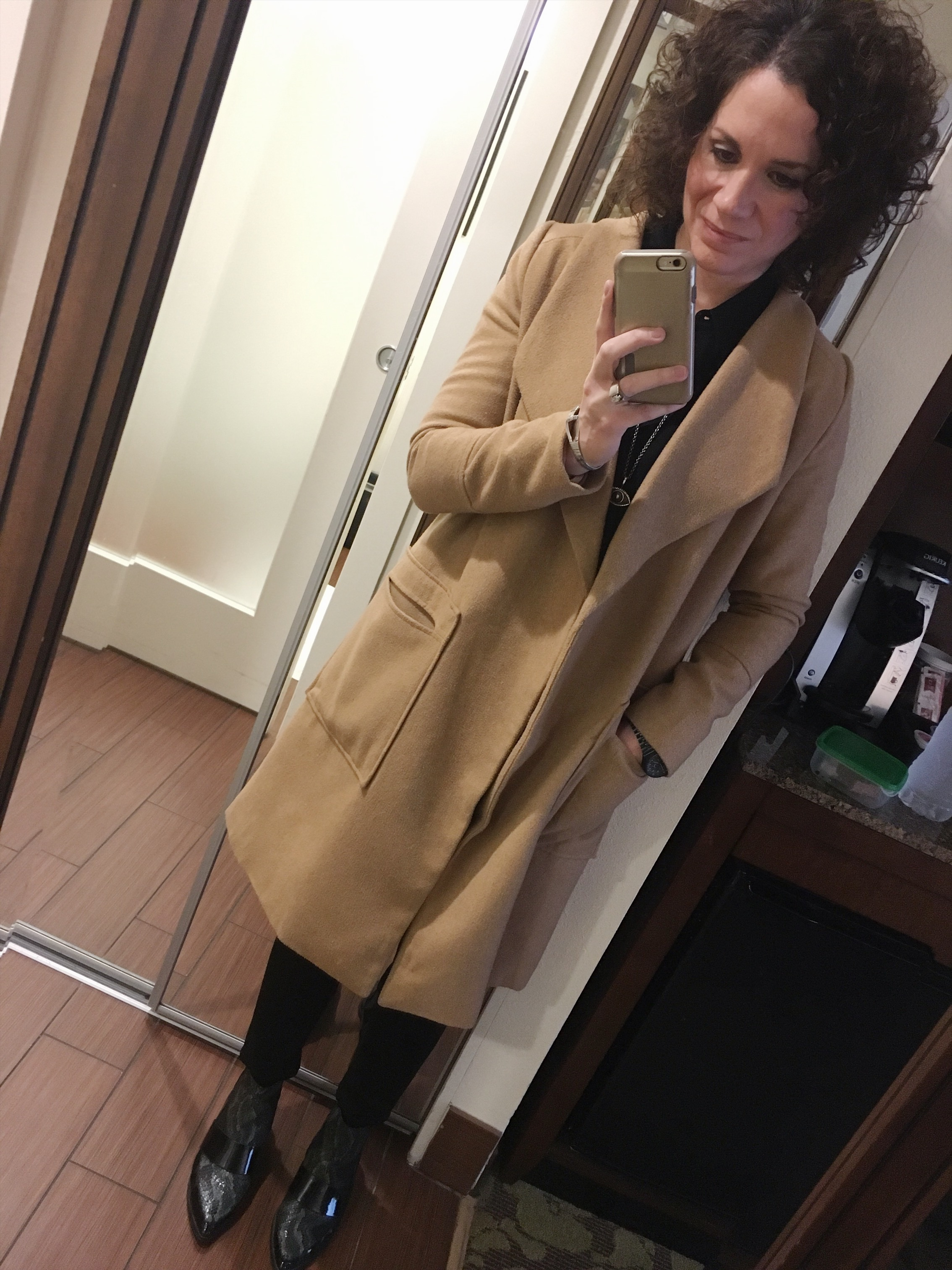 I found this camel coat at The Trunk. It's the perfect lightweight winter jacket. ( similar here )