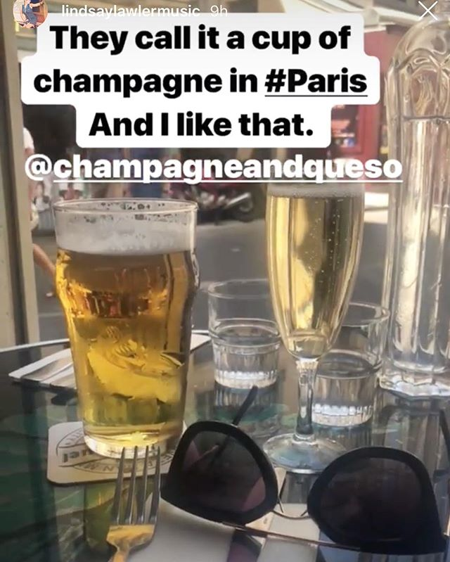 """We drink """"cups"""" of champagne in America too. Or maybe that's just us @lindsaylawlermusic ? 🤷🏻♀️😬🍾🥂#champsandqueso"""
