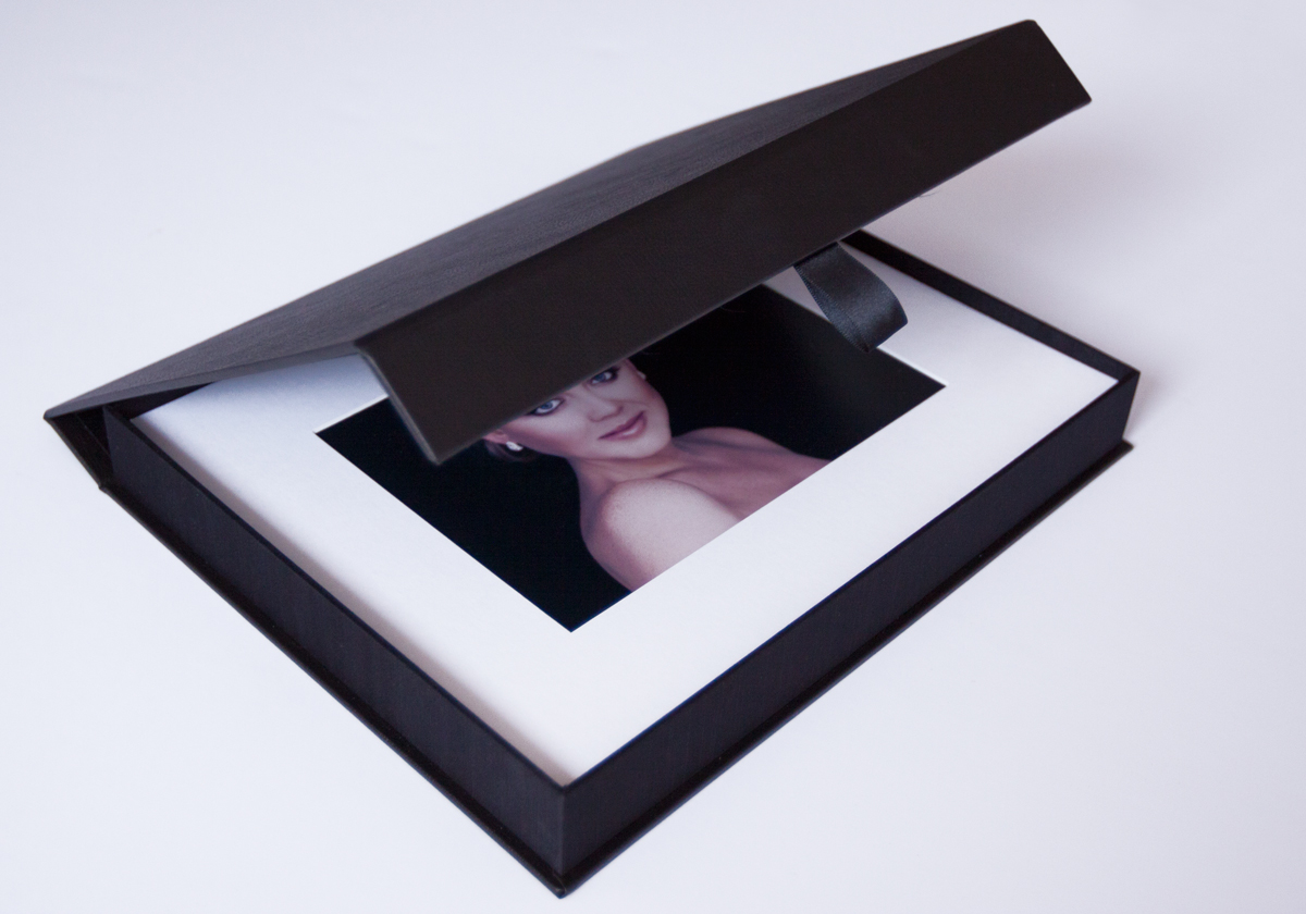 Our keepsake folio box which comes with 6 or more images, mounted and matted.