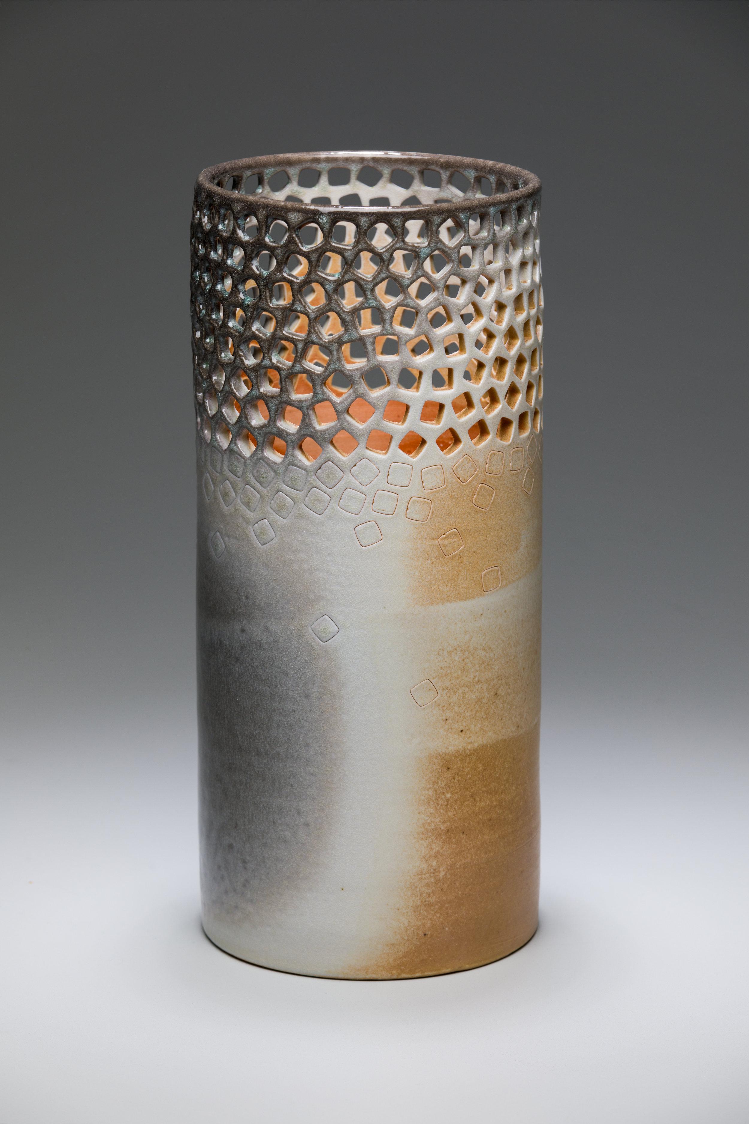 pierced vase  porcelain, wood-fired