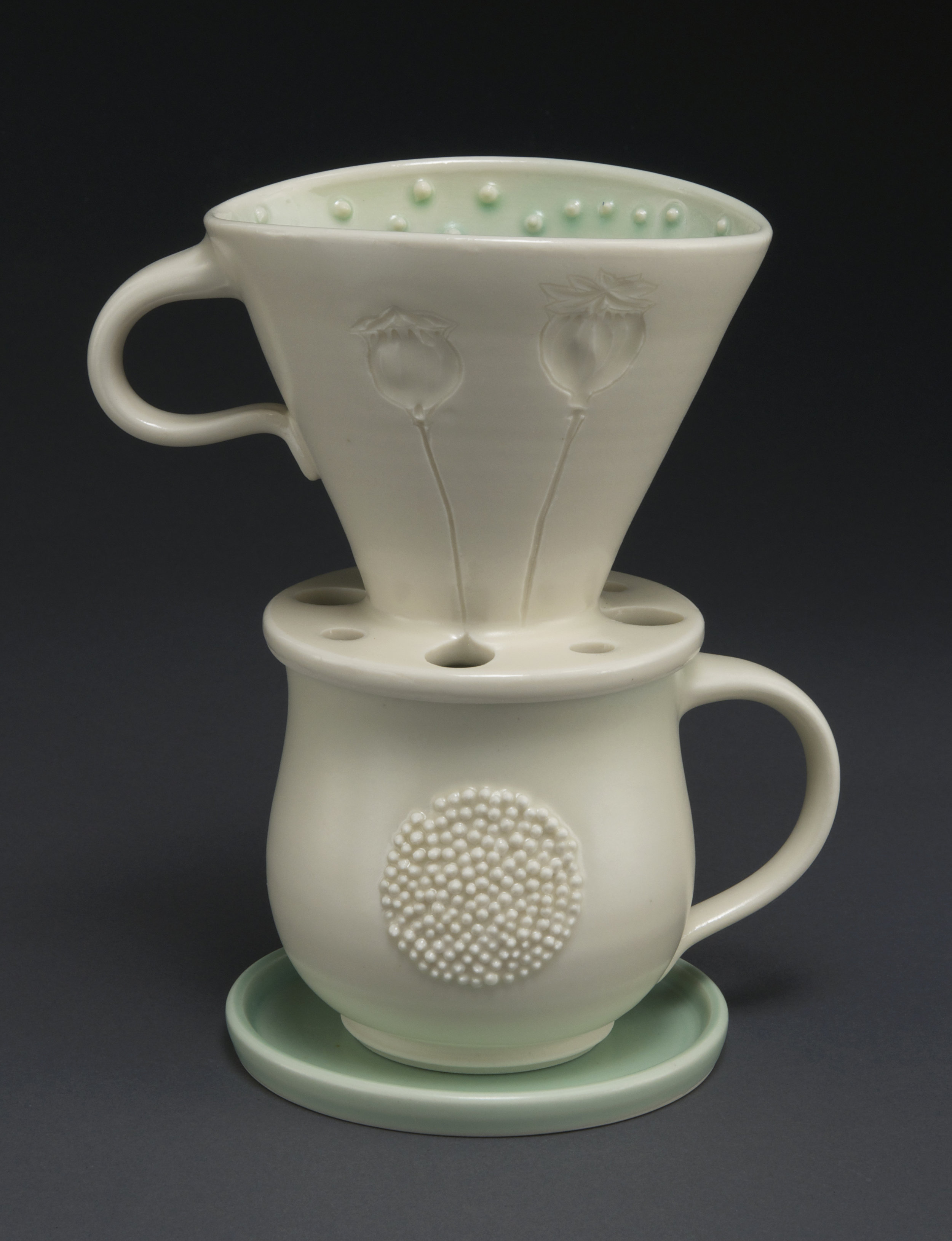 mug and pour-over set, poppy  porcelain, electric-fired