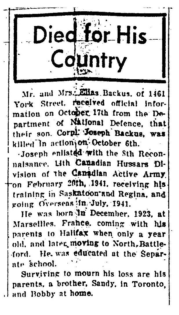 Announcement in newspaper  (photo from the c ollection of Mr. Darren Roberts from the City of North Battleford Historic Archives in North Battleford, Saskatchewan)