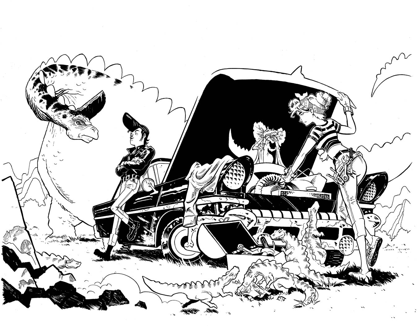 Comic-Book-Art-Inking-1950's-Rockabilley-car-breakdown-dinosaurs-Robin-Holstein.jpg