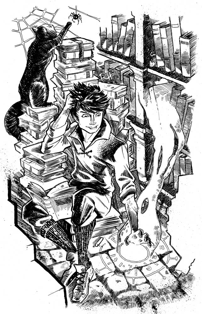 Comic-Book-Art-Inking-boy-casting-magic-library-Robin-Holstein.jpg