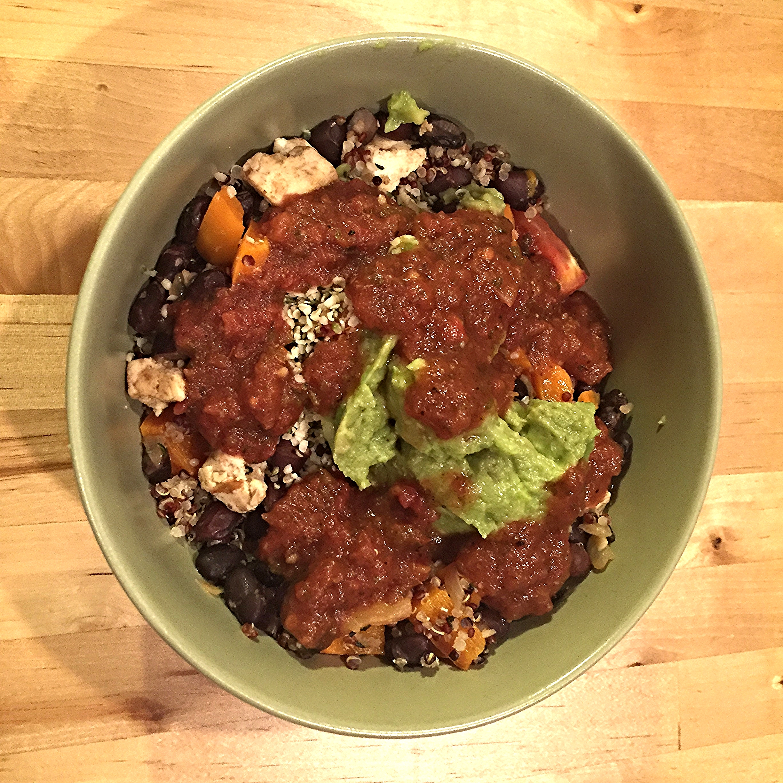 Black bean veggie fiesta with quinoa