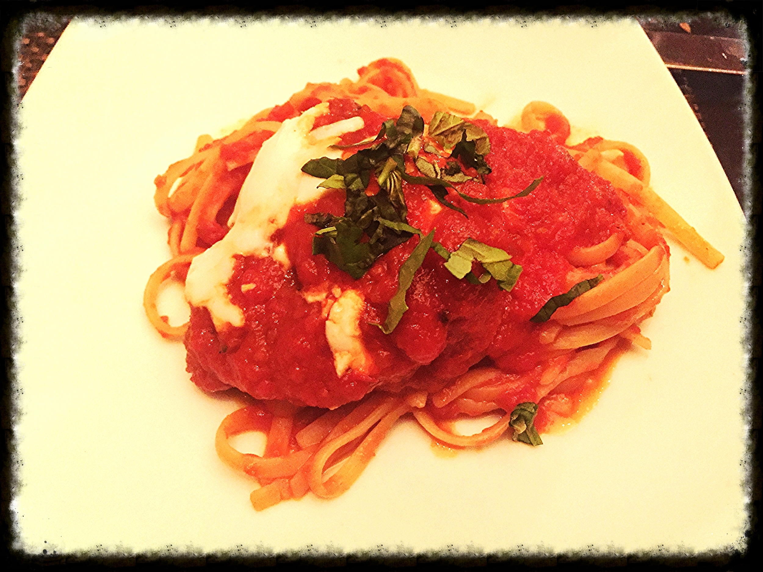 Vegan Gardein™ Chick'N parmigiano with linguine from Allegro at Wynn Las Vegas