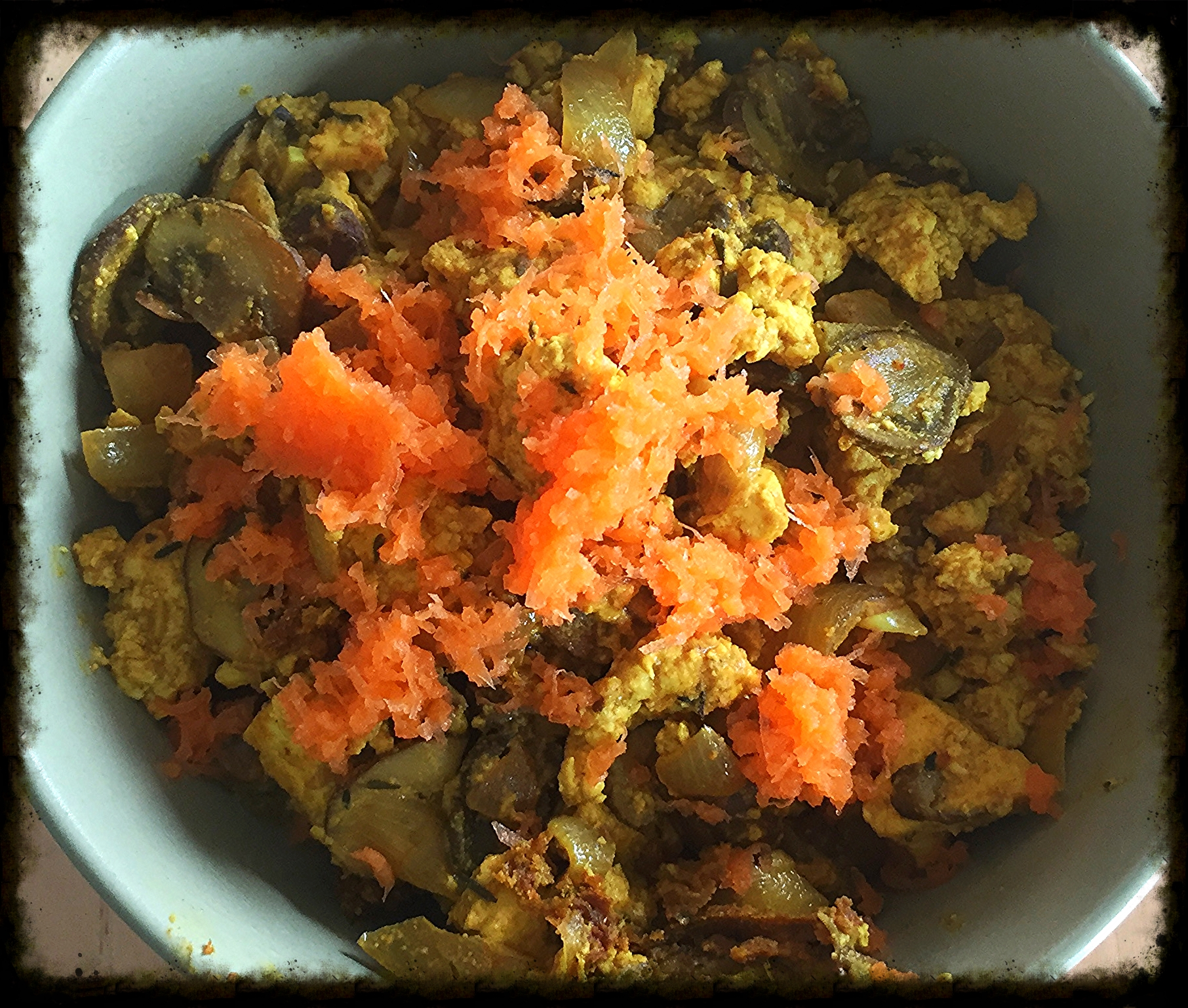 Scrambled tofu using nutritional yeast