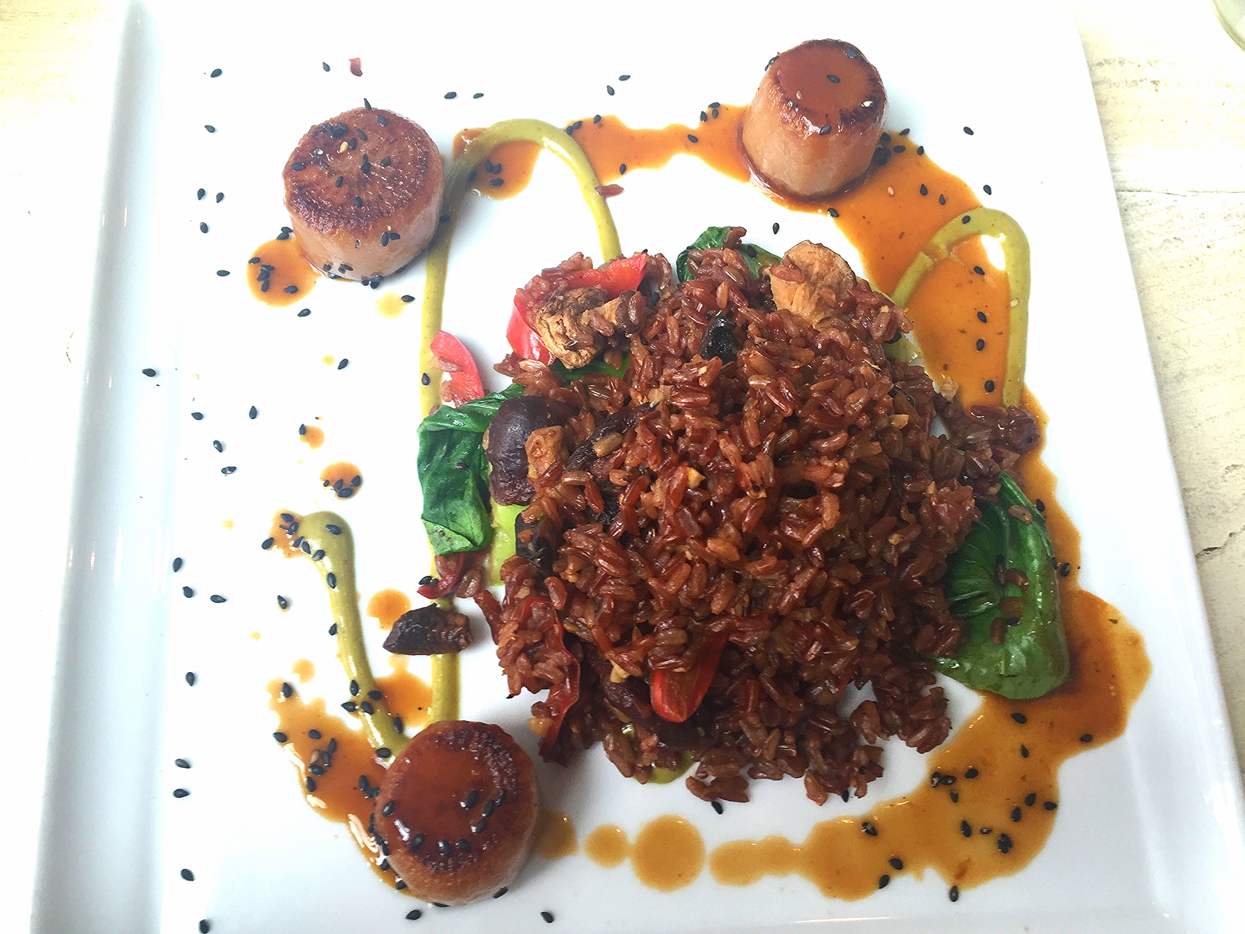 Vegan sake braised daikon scallops