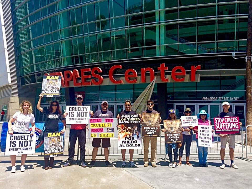 2016 Ringling Brothers protest at Staples Center in Downtown Los Angeles