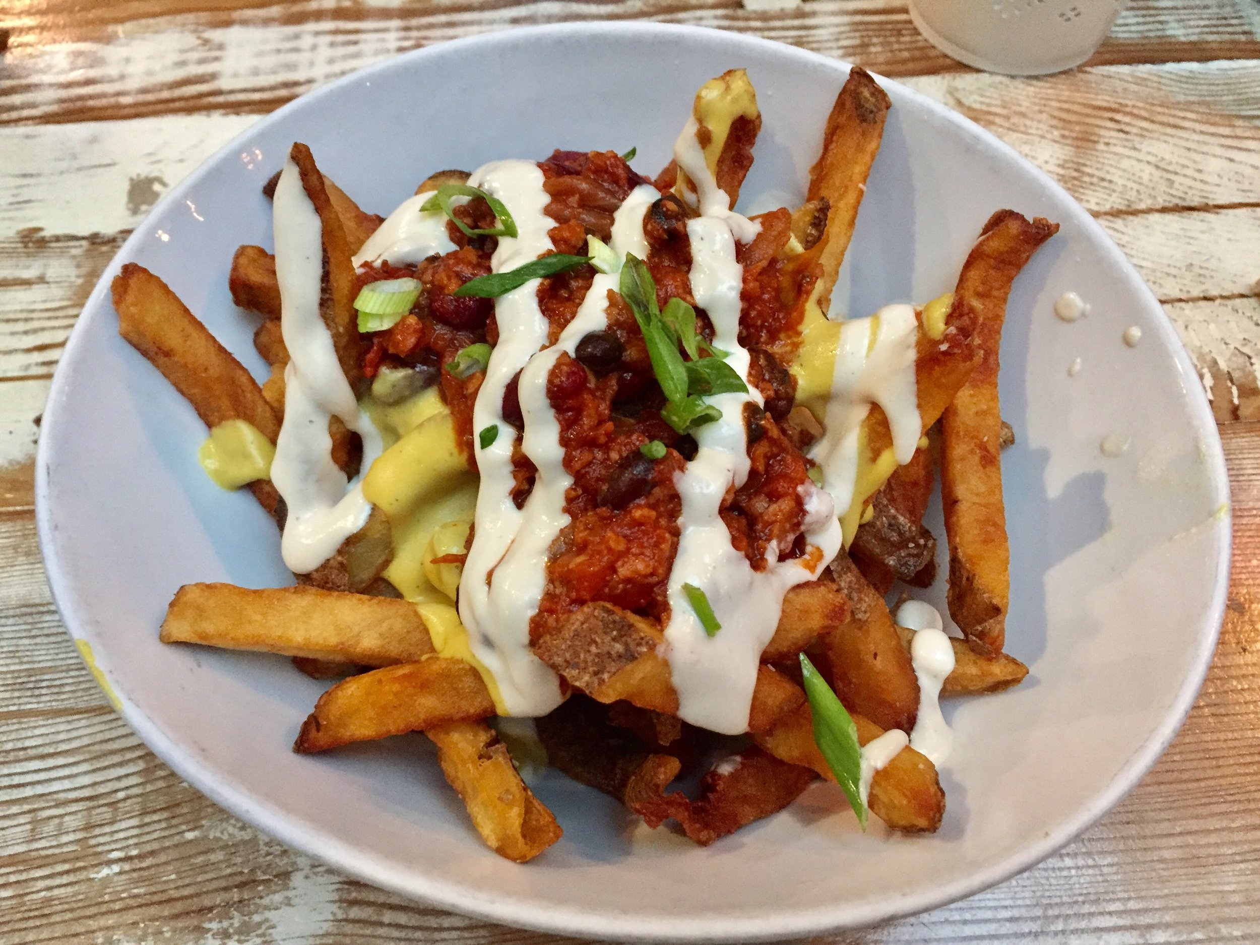 Vegan chili cheez fries from Meet in Gastown, Vancouver
