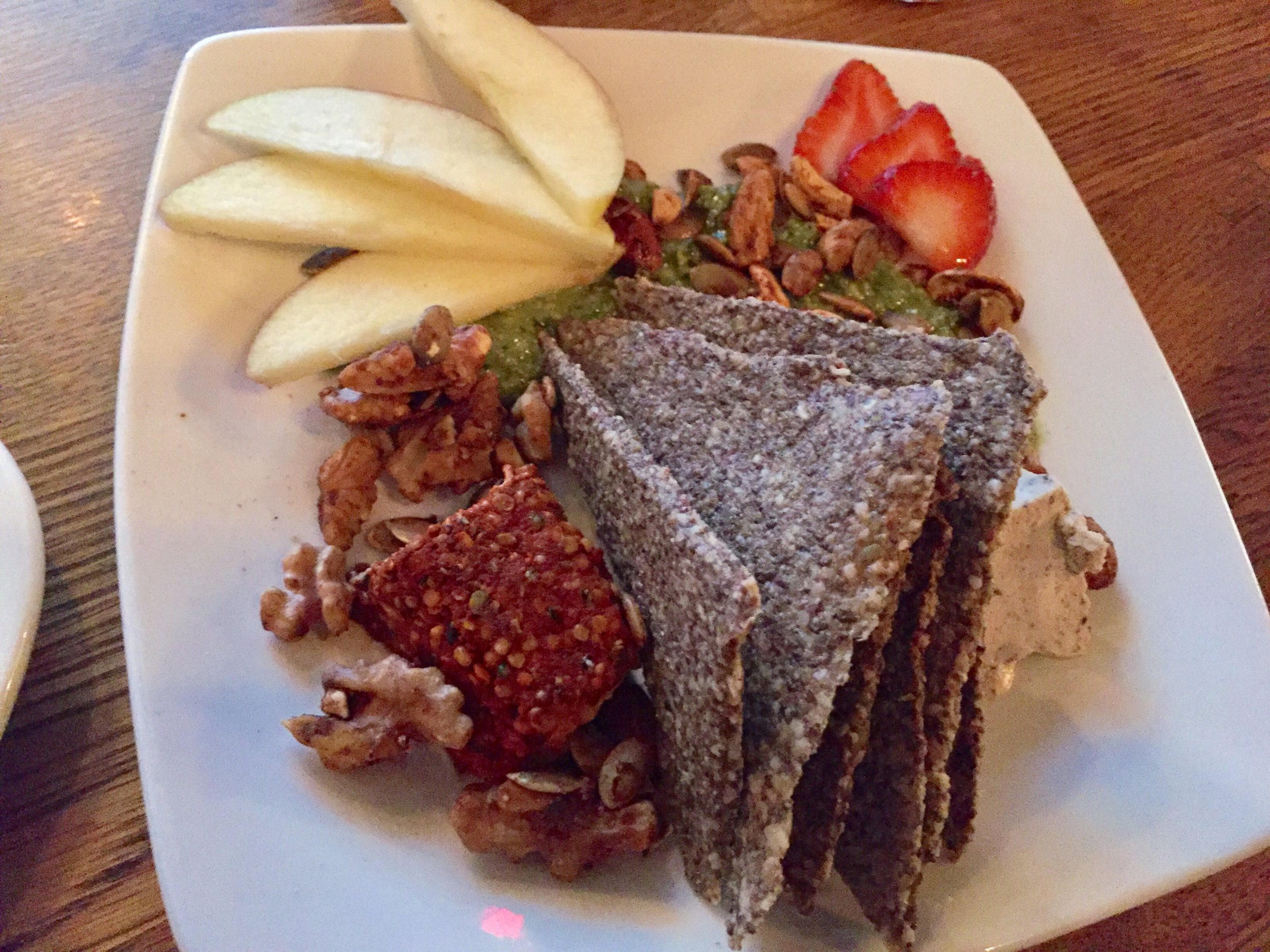 Vegan cheese plate from Zend Conscious Lounge