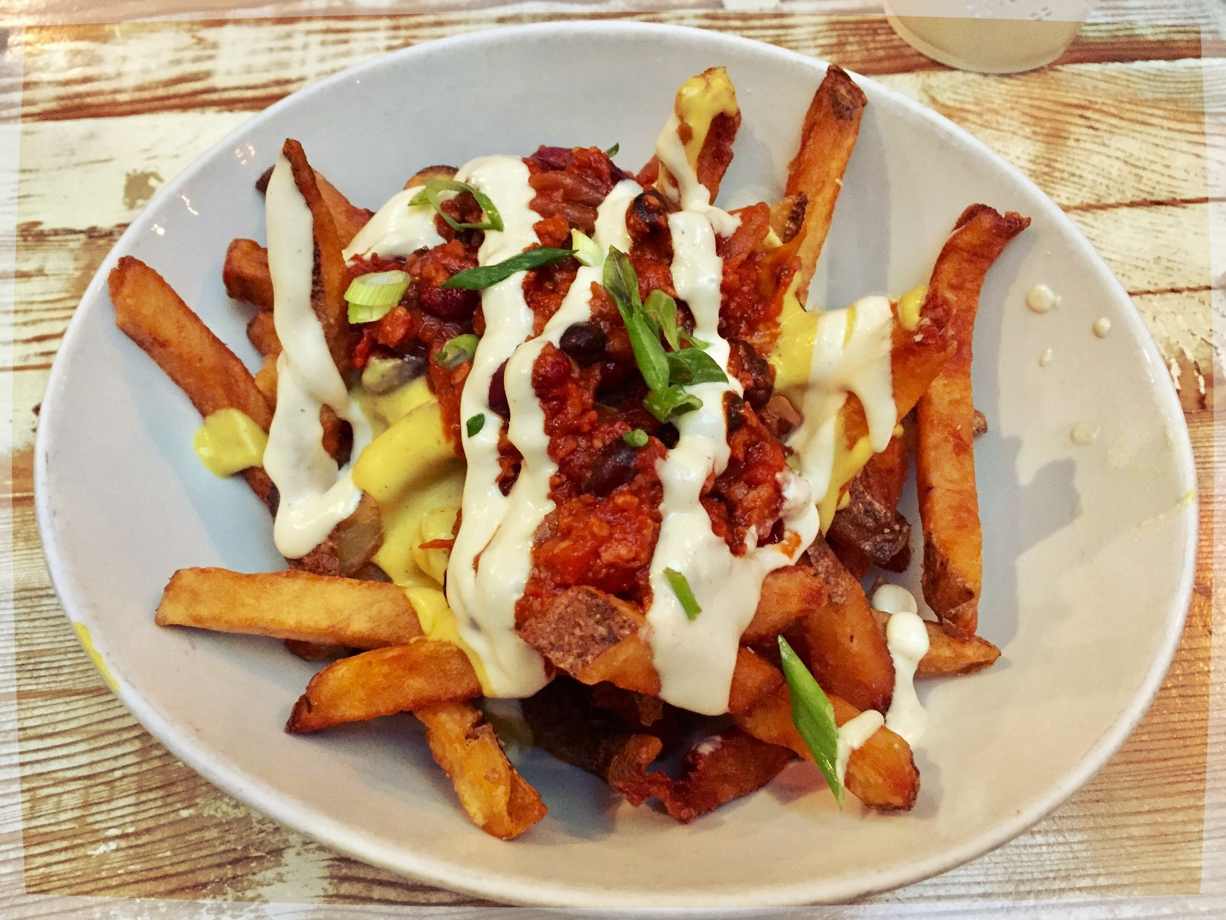 Vegan chili cheese fries from MeeT in Vancouver, BC