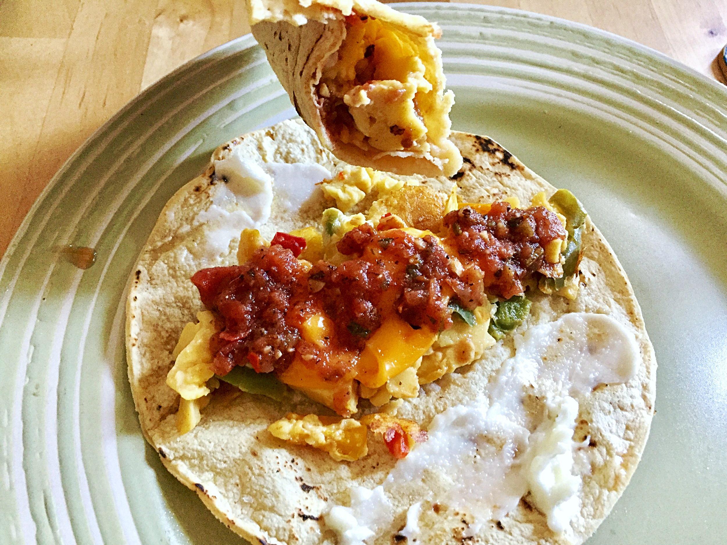Vegan scrambled egg taco